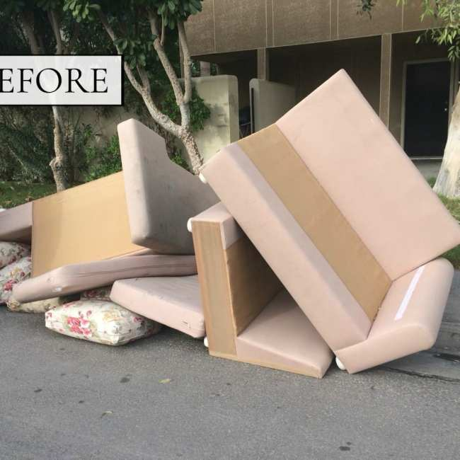 Before & After: A Couch From The Street Gets A Modern Makeover | THE DESIGN SOUK | www.thedesignsouk.com