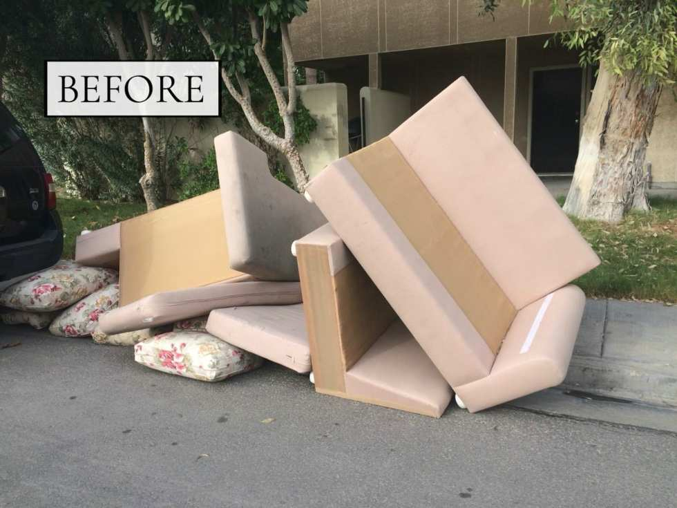 Before & After: A Couch From The Streets Gets A Modern Makeover | THE DESIGN SOUK | www.thedesignsouk.com