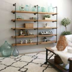 Diy Shelves In Living Room Gray Leather Sets Industrial Pipe Step By Tutorial On This Shelf