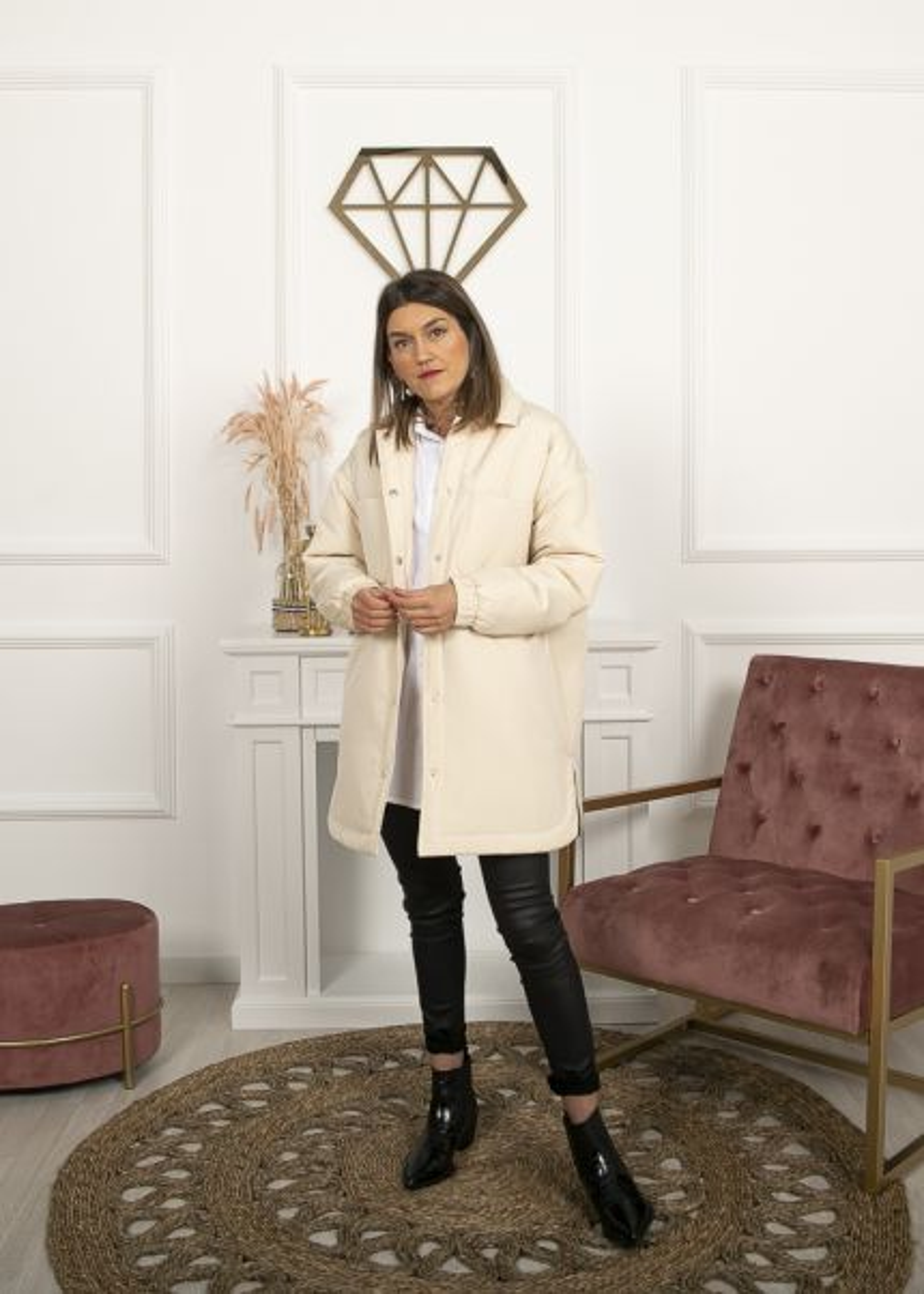Sobrecamisa acolchada beige bolsillos - The desire shop Abrigos mujer