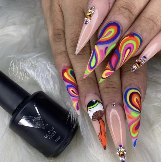 trippy acrylic nail art design