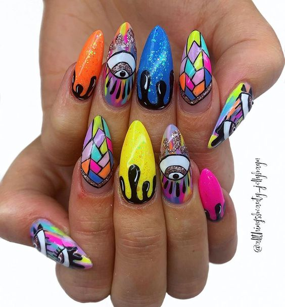 29 Trippy Acrylic Nail Art Designs To Try This Year