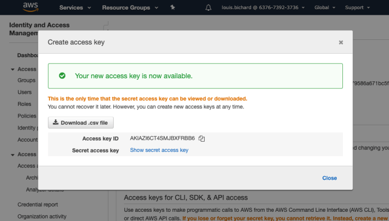 Create AWS Access Key