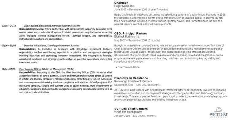 Employment history from CV and LinkedIn side-by-side