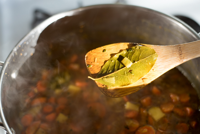 Remove the bay leaf from the carrot potato soup