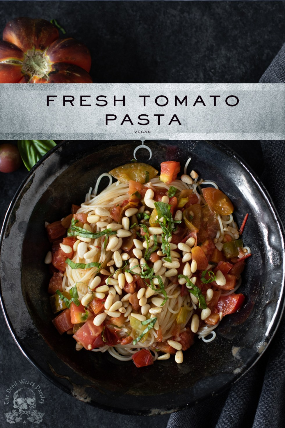 Fresh garden tomatoes and basil are the star of this simple pasta pomodoro.