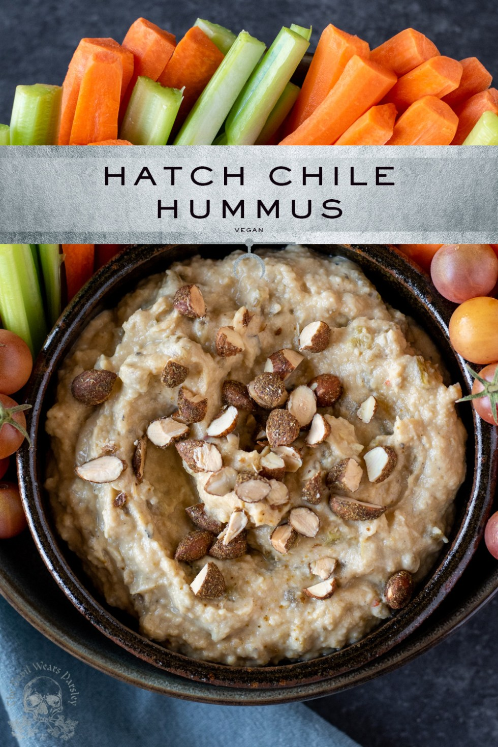 Mild, fresh roasted hatch chiles pair with Melissa's Produce new Green Hatch Chile Roasted Almonds to make a healthy Hatch Chile Hummus.