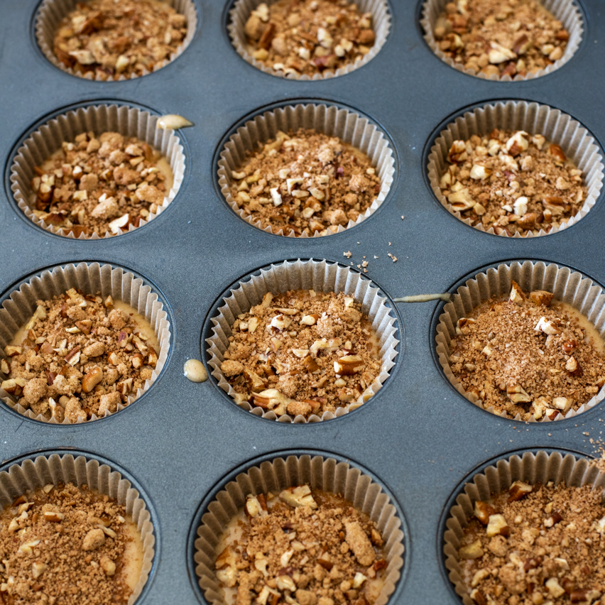 Pumpkin Coffee Cake Muffins ready to be baked in the oven!