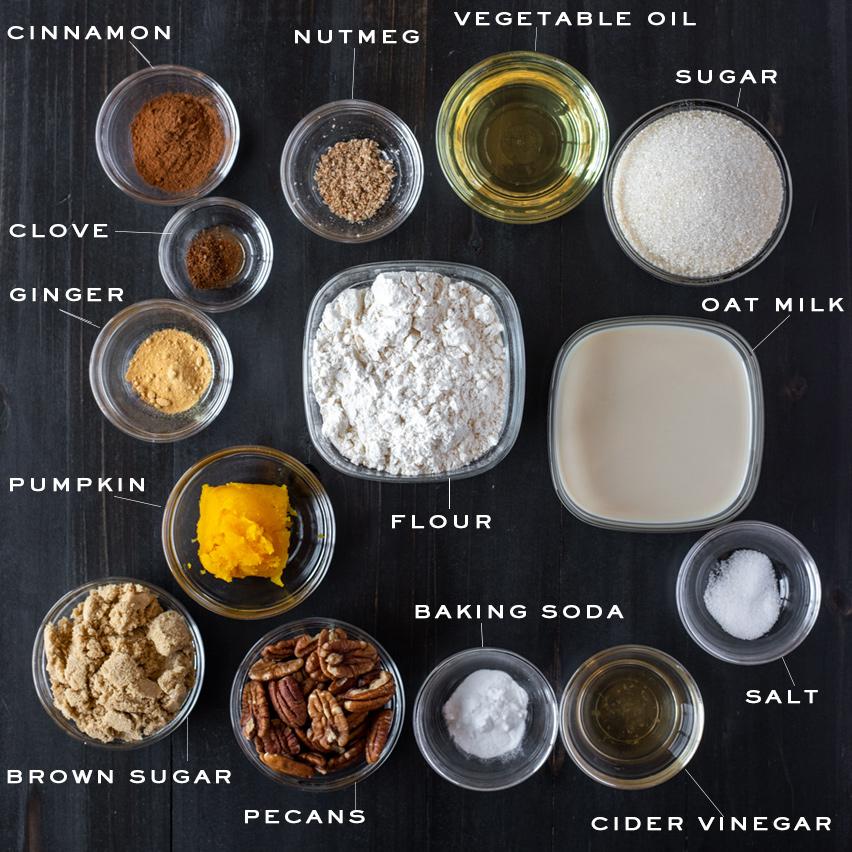 Pumpkin Coffee Cake Muffins Ingredients