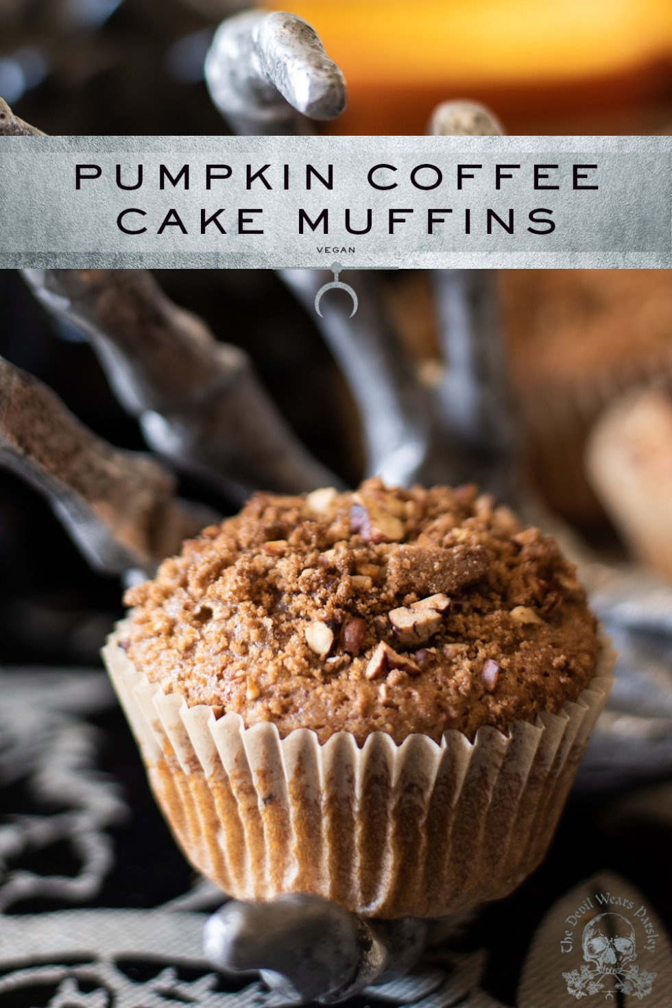 Pumpkin Coffee Cake Muffins - a perfect accompaniment to a steaming cup of coffee in the heart of fall.