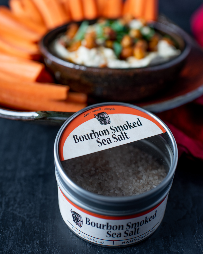 Smoked Hummus with Bourbon Barrel Foods Bourbon Smoked Salt.