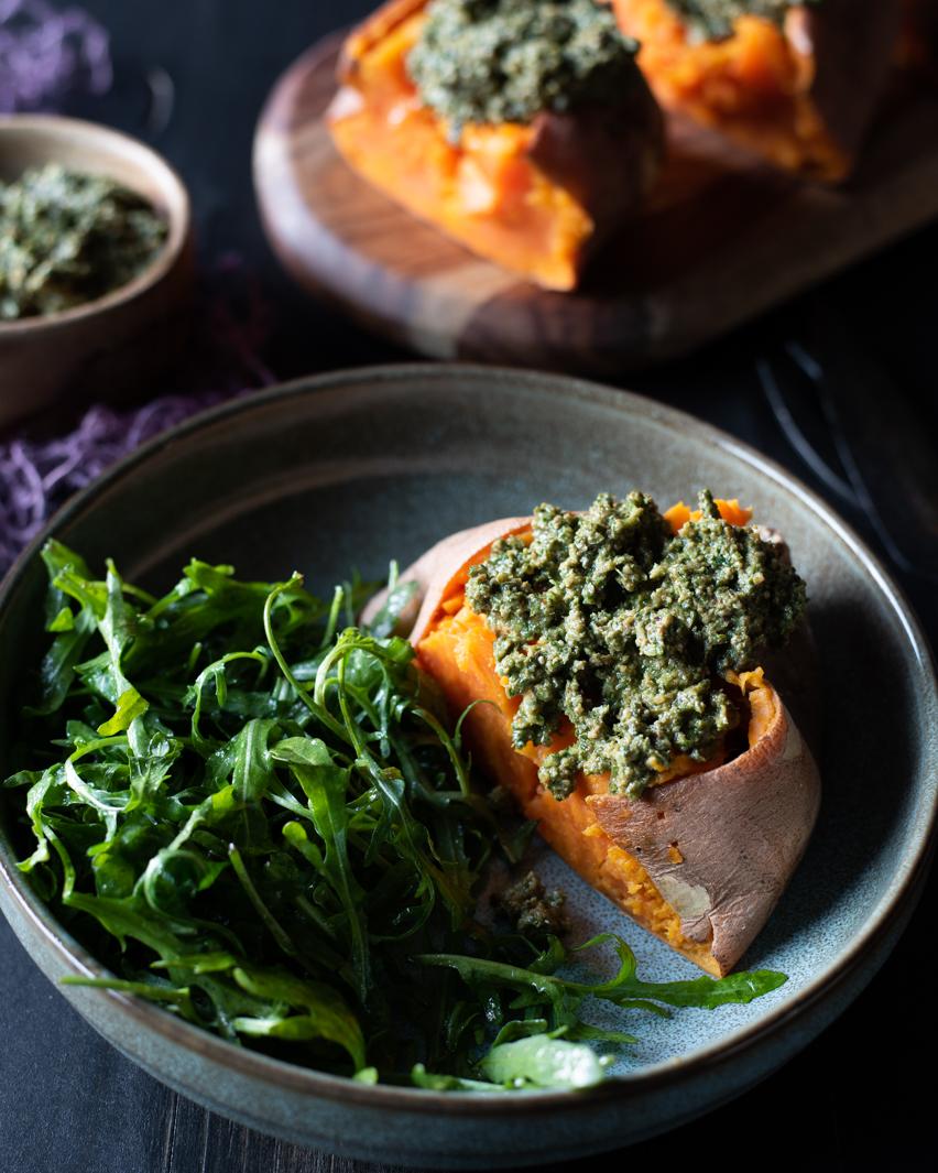 Sweet Potato with Walnut Pesto & Arugula Salad