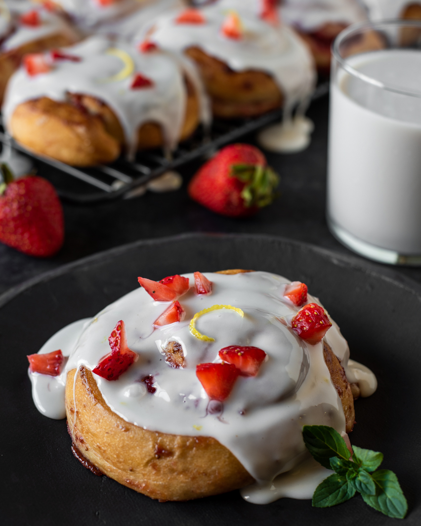 Sweet Strawberry Rolls with Milk.