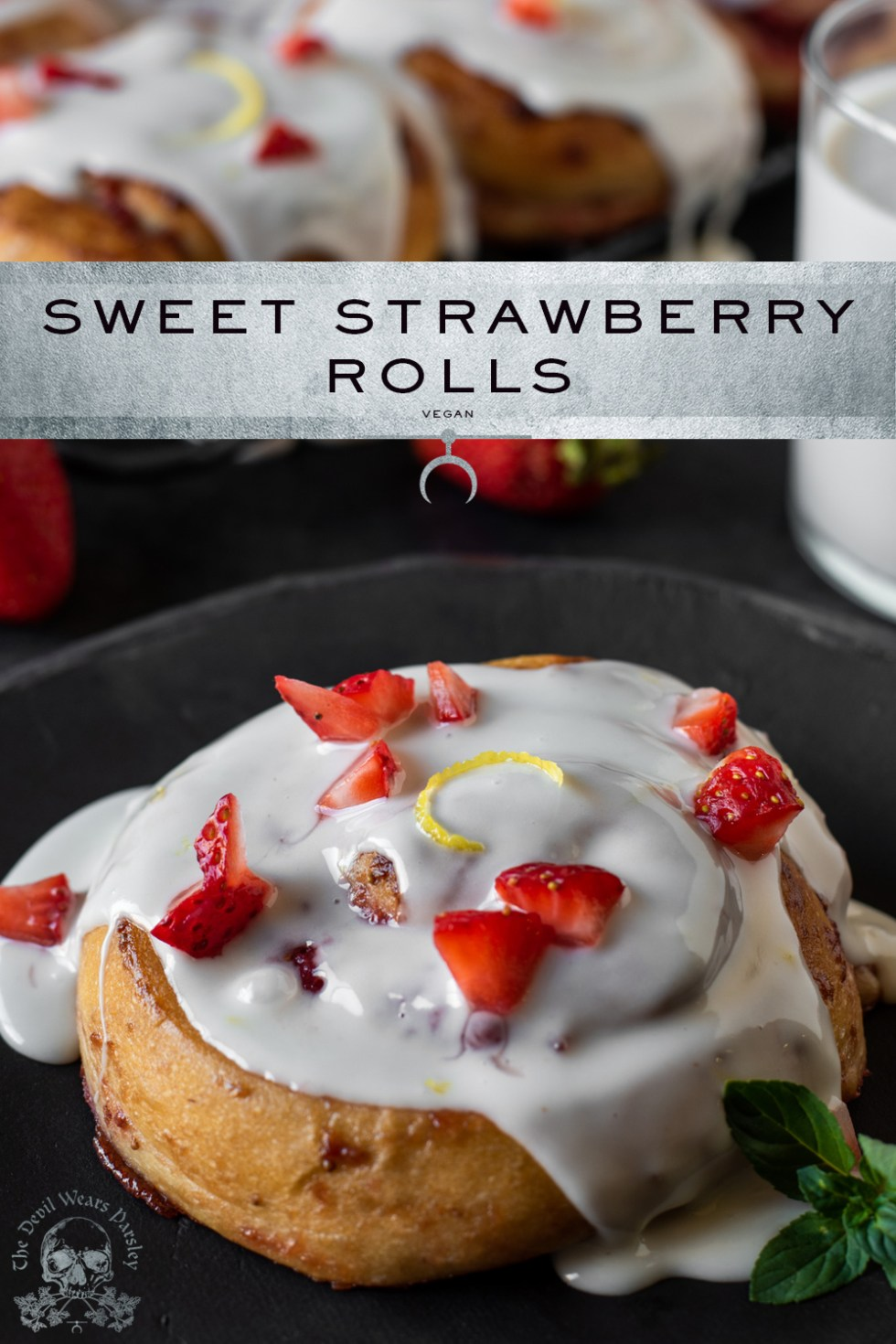 Sinfully sweet strawberries enraptured with warm, soft, fluffy dough.  Give it a sugar shower, and fresh berries to top, and you're on your way to strawberry delight!