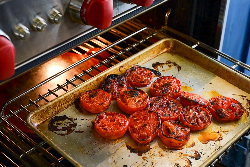 Freshly fire-roasted tomatoes from underneath the broiler.