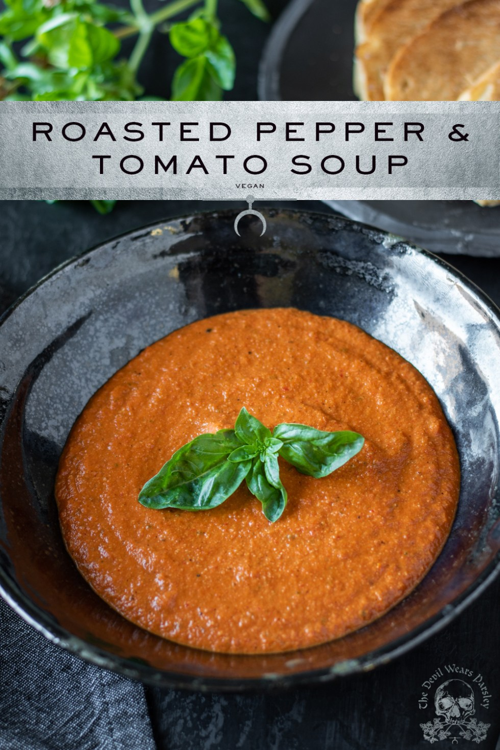 Fire roasted tomatoes and peppers are the bulk of this dish.  Pair this with a cashew cream, and we have a soup with tons of flavor and texture!