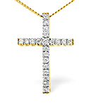 9K Gold Diamond Cross Pendant 0.27CT