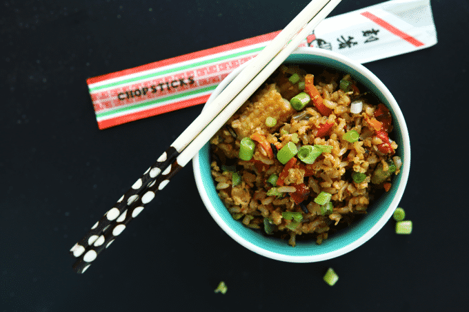 Healthy Low Calorie Fried Rice exists! Not only does it exist, but it's unbelievably easy to make too! Each cup has only 135 calories, and just 1.5g of fat!