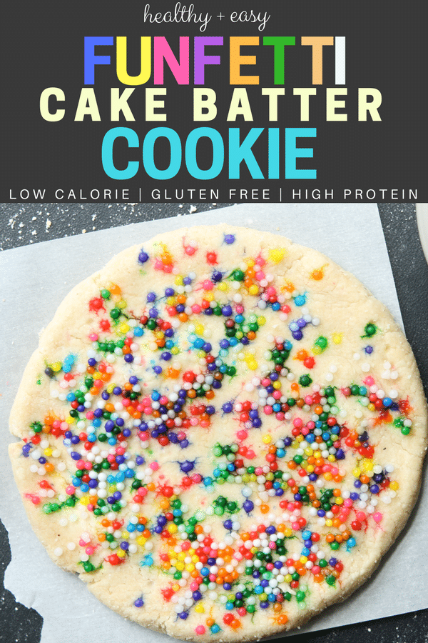 Healthy and easy Funfetti Cake Batter Cookies recipe! This is the BEST gluten free cookie recipe you'll ever try! Plus, this cake batter cookie is soft and chewy oil free, low carb, and high protein too.