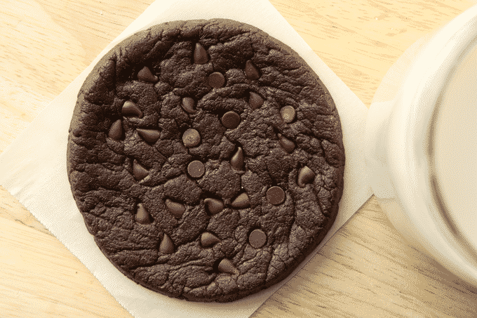 A healthy double chocolate chip cookie