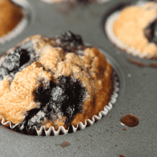blueberry muffins in a tray