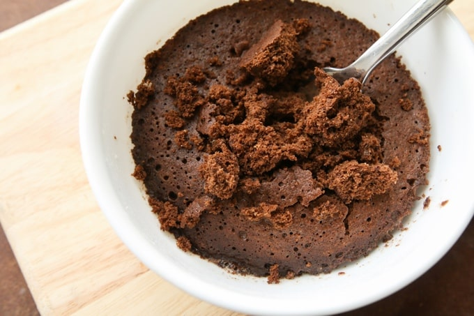 A low carb brownie in a mug