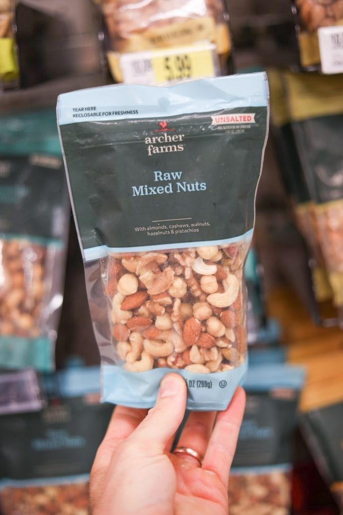One of the BEST Keto Snack Ideas is these Archer Farms Mixed Nuts. They are a tasty Low Carb Snack!