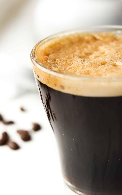 Bulletproof coffee in a cup.