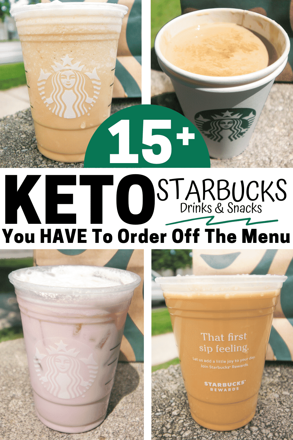 A compilation of 4 different Starbucks keto drinks.