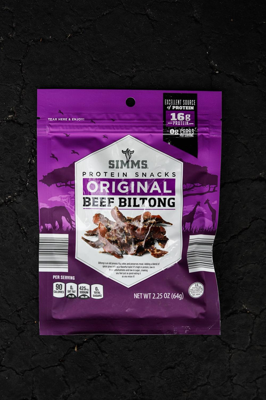 A bag of original flavored beef biltong.