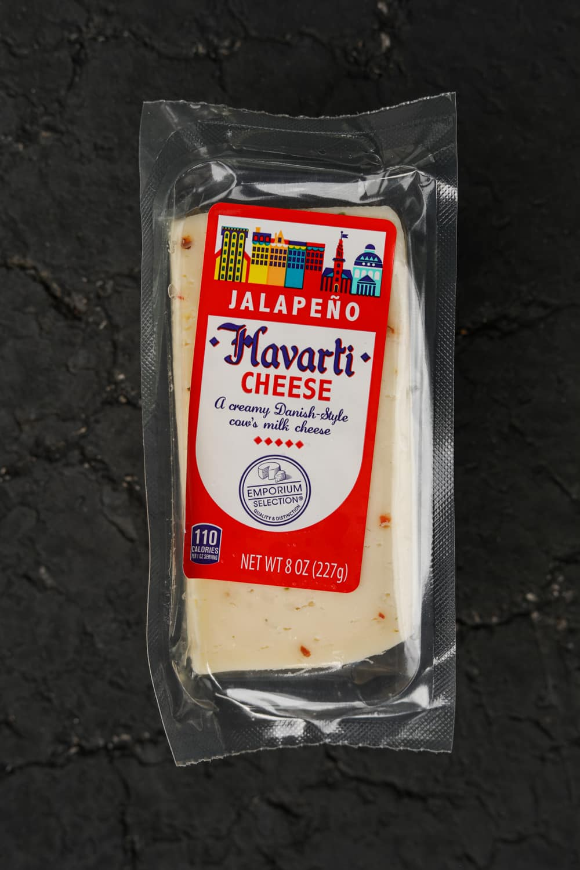 A brick of havarti cheese.