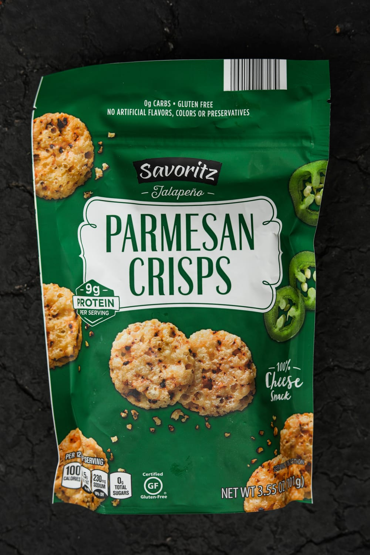 A bag of jalapeno parm crisps.