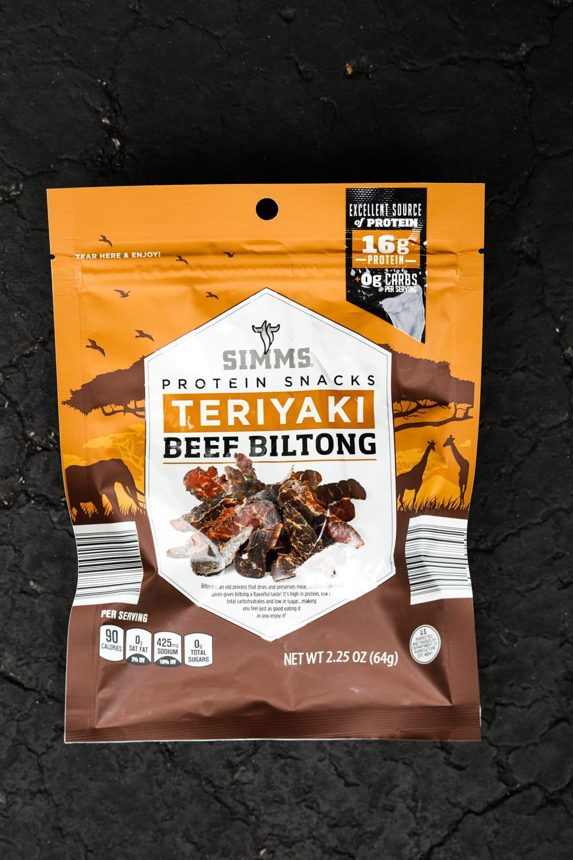 A package of teriyaki beef biltong.