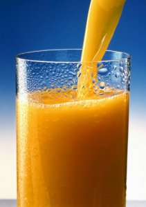 a cold glass of orange juice