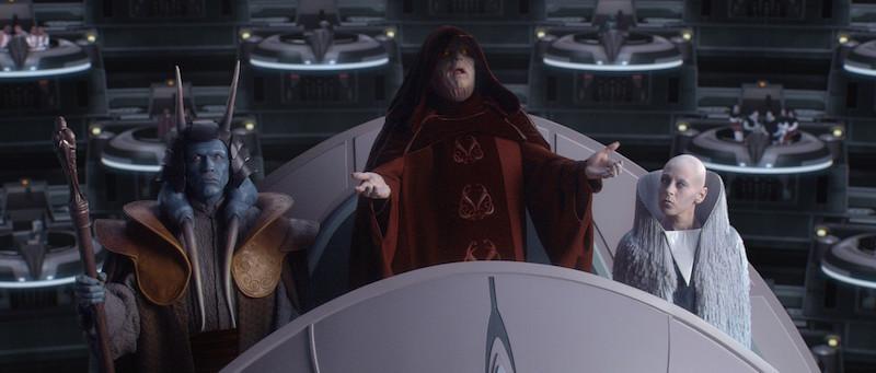 Palpatine proclamando la creación del Imperio ante el Senado de la República, en Star Wars Episode III: Revenge of the Sith