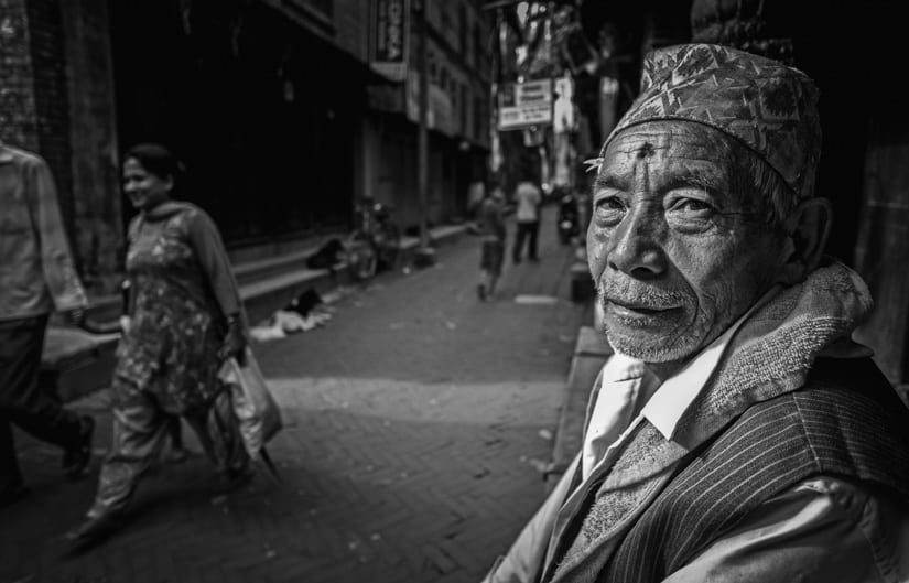 Here is a wide angle portrait of a Nepali man on the street.f/2.8, 1/220 sec, at 14mm, 200 ISO, on a X-Pro1