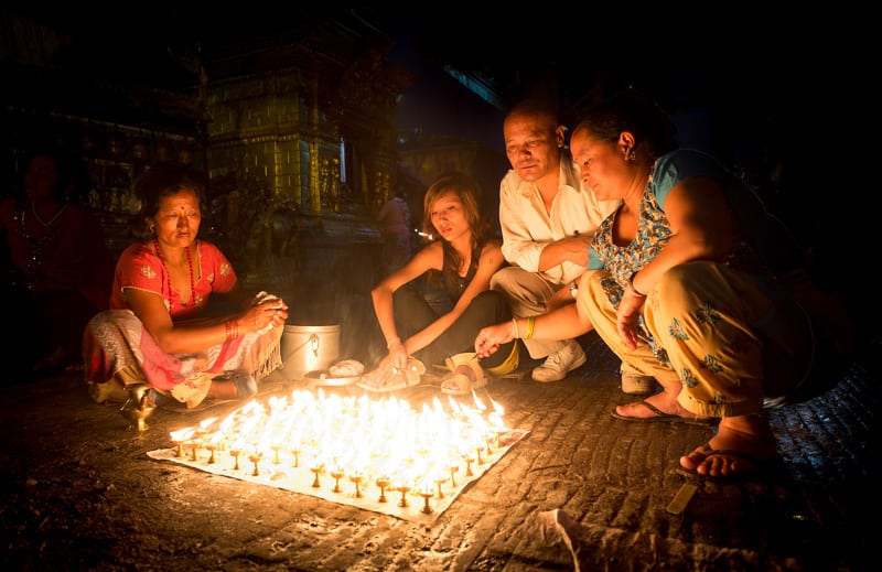 Butter or oil lamps are lit and used as a integral part of worship.f/2.8, 1/30 sec, at 14mm, 800 ISO, on a X-Pro1