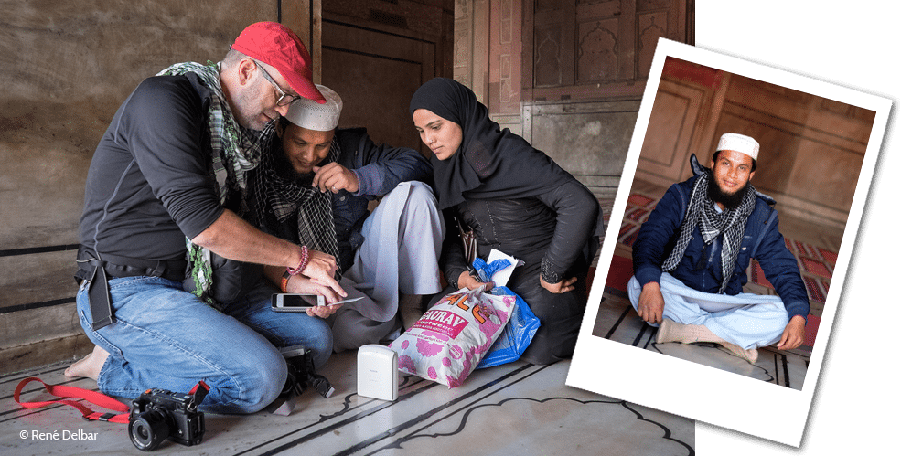 Here René Delbar caught me sharing a Instax print with a man and his wife in the Jama Masjid, Delhi. This was an image I made with the X-E2 and transferred to my iPhone to print.
