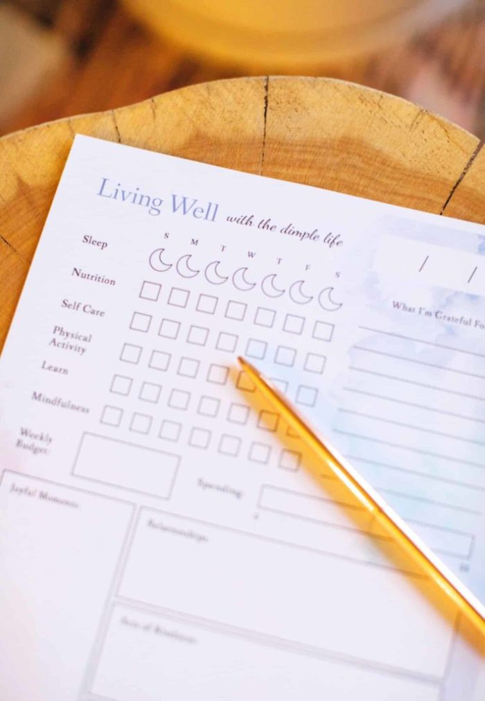 Free wellness tracker that is a printable worksheet to track your healthy habits. #printableworksheet #freetracker #TheDimpleLife