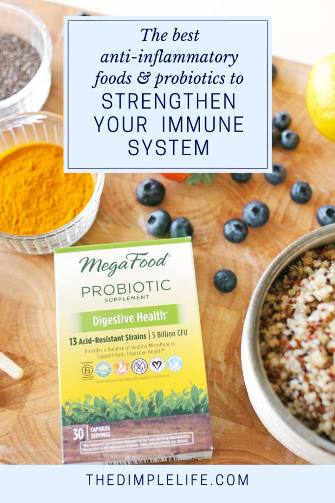 How to boost your immune system naturally | Did you know that the majority of our immune system is in our gut? That's why good gut health is so important for healthy immunity. In this post, I share my favorite anti-inflammatory foods that are natural immune system boosters + my go-to probiotic supplement. | The Dimple Life #thedimplelife #guthealth #immunesystem