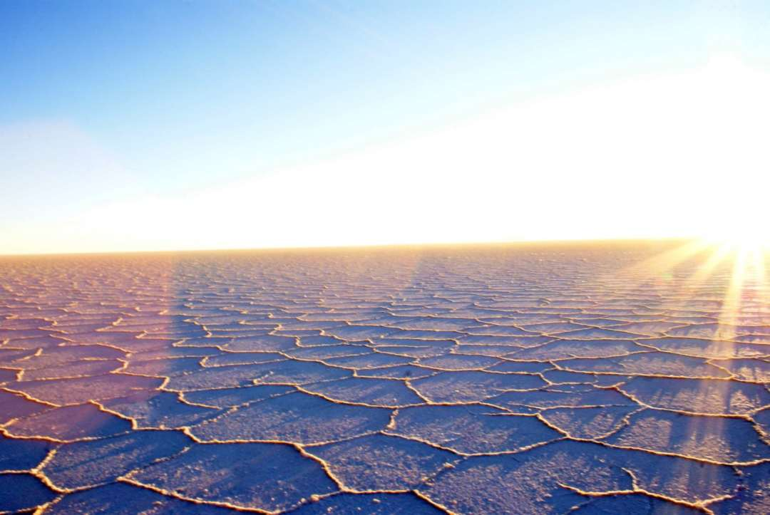 Watching the sun rise over the Bolivian Salt Flats