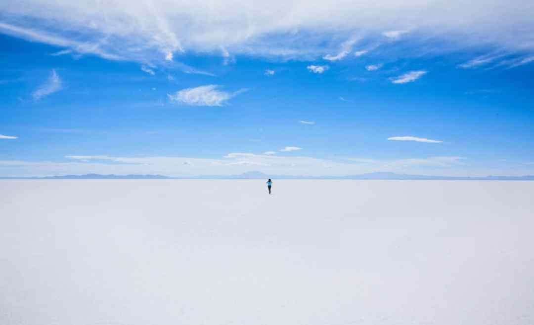 Solo person on the Salar de Uyuni