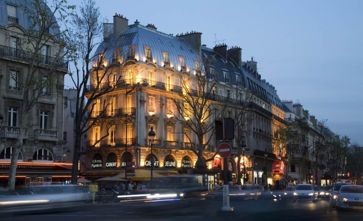 A Street scene in the Rive Gauche, Boulevard St Germain, Paris
