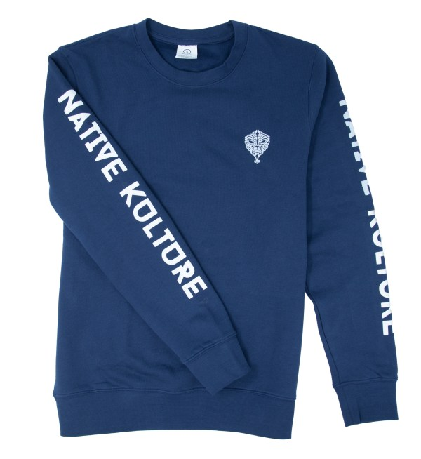 Navy Native Spirits Sweater with logo and sleeve print