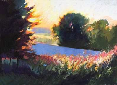 Resh Mill Sunset, pastel on paper, 48 x 64 inches