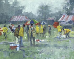 Bill Suttles, Rainy Day Steeplechase, oil on panel, 16 x 20 in.