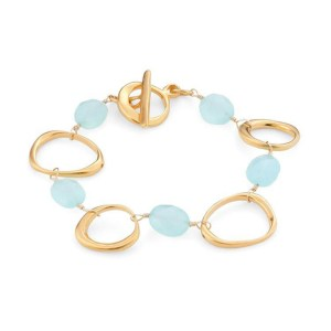 Circles and chalcedony vermeil braclet