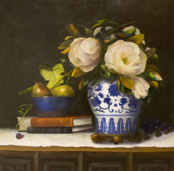 Magnolias & Imperial, oil on canvas, 24 x 24 in.