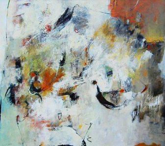 Mildred Jarrett, Confluence of Spirit, acrylic on canvas, 52 x 64 in.