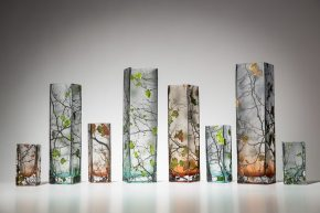 hand carved and painted glass vases